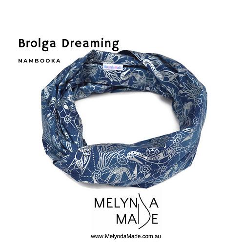 MelyndaMade Handmade Indigenous Ladies Infinity Scarf Brolga Dreaming with Silver