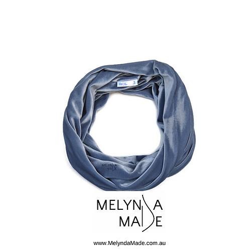 MelyndaMade Handmade Ladies Infinity Scarf Velvet Spandex Silver