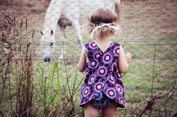 MelyndaMade Handmade Childrens Clothes Indigenous Revrsible Pinny Orchid
