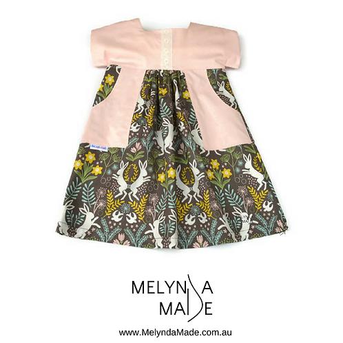 MelyndaMade Handmade Childrens clothes Luna dress Bunnies for Easter