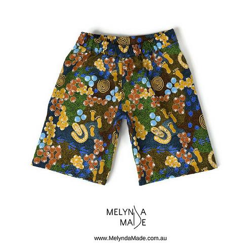 MelyndaMade Handmade Indigenous Childrens Clothing Shorts Bush Plum Dreaming