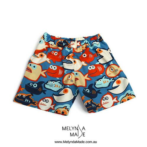 MelyndaMade Handmade Boys Shorts Fish Sz 6 Front