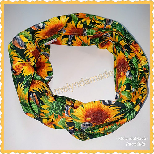 MelyndaMade Handmade Ladies Infinity Scarf Sunflowers