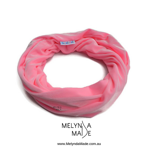 MelyndaMade Handmade Ladies Infinity Scarf Velvet Spandex light pink