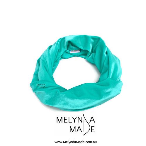 MelyndaMade Handmade Ladies Infinity Scarf Velvet Spandex Jade
