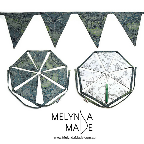MelyndaMade Handmade Colour Me Bunting - Space & Yalke Green