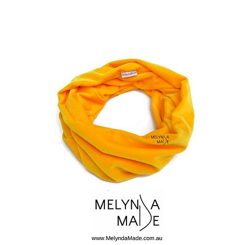 MelyndaMade Handmade Ladies Velvet Infinity Scarf Yellow