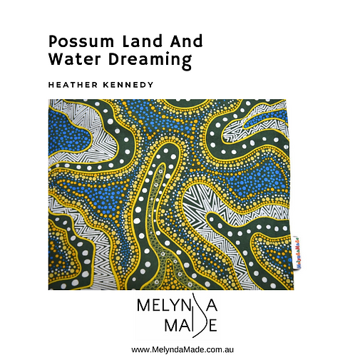 MelyndaMAde Handmade Indigenous Ladies Clothing Infinity Scarf Possum Land and Water Dreaming