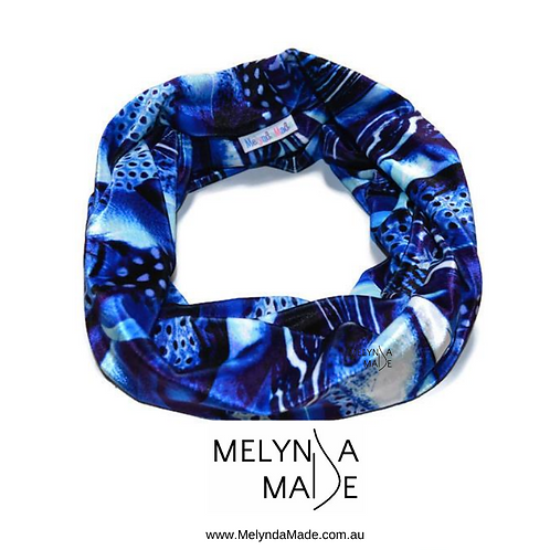 MelyndaMade Handmade Ladies Infinity Scarf Boo Spandex Blue Feathers