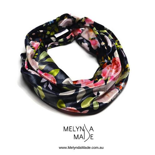 MelyndaMade Handmade Ladies Infinity Scarf Velvet Spandex Navy Floral