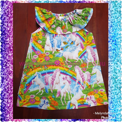 MelyndaMade Handmade Childrens Clothes Seaside dress unicorns and rainbows