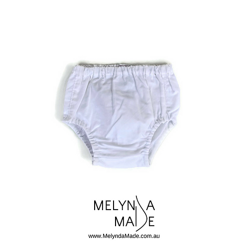 MelyndaMade Handmade Baby Clothes Nappy Cover White