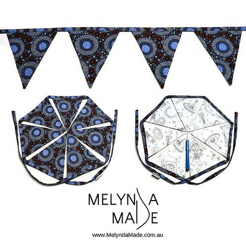 MelyndaMade Handmade Colour Me Bunting - Space & Wild Flora Baby Blue