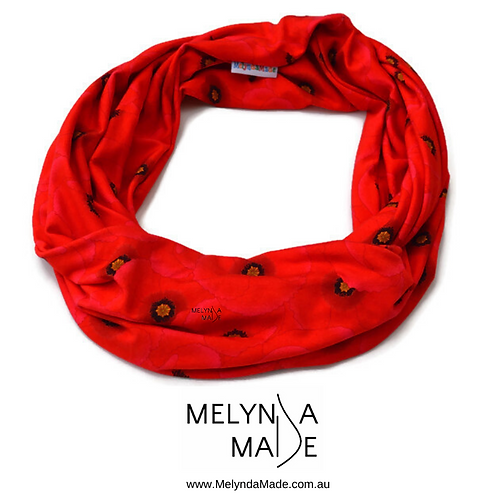MelyndaMade Handmade Ladies Infinity Scarf Red Poppies on Red Bamboo Lycra