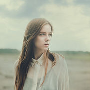 Young woman looking left
