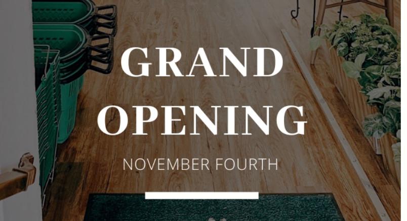 Grand Opening Nov. 4, 2019