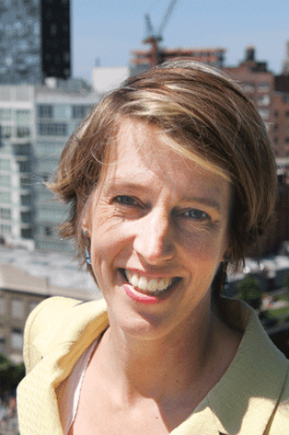 Zephyr Teachout in Chelsea on a 14th-floor deck at the Caledonia, overlooking the High Line after her endorsement interview with the Jim Owles Club. The endorsement interview was held in a community room located off of the deck.
