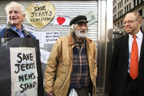 From left, Marty Tessler, a former Community Board 2 member who championed Jerry Delakas's cause; Delakas; and his attorney, Arthur Schwartz, who negotiated the settlement allowing him to regain the newsstand.