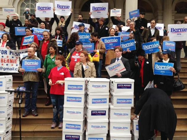 Sanders supporters prepare to deliver 85,000 signatures outside City Hall, New York City, Feb. 3, 2016. (Photo by Emma Margolin/MSNBC)