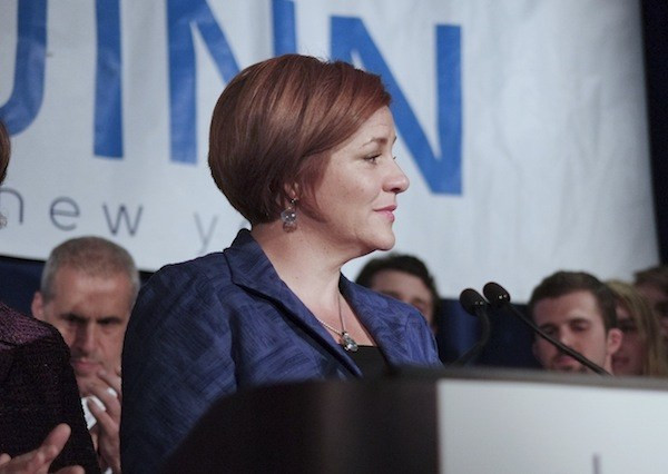 Christine Quinn about five minutes into her concession speech at the Dream Hotel in Chelsea on Tuesday night.