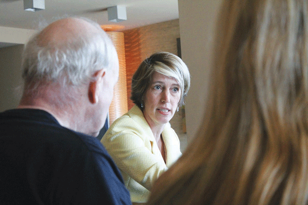 Zephyr Teachout speaking at an endorsement interview with the Jim Owles Liberal Democratic Club at the Caledonia apartment building, on W. 17th St., in Chelsea. The gay political club later voted to support her bid for governor.  PHOTOS by LINCOLN ANDERSON