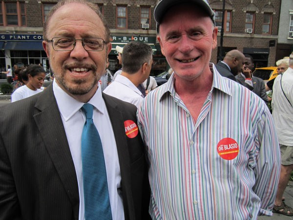 "Photo by Lincoln Anderson Arthur Schwartz, left, and John Scott, Tribeca's district leader, at Bill de Blasio's ""Hospitals Not Condos"" campaign rally last month across the street from the site of the former St. Vincent's Hospital."