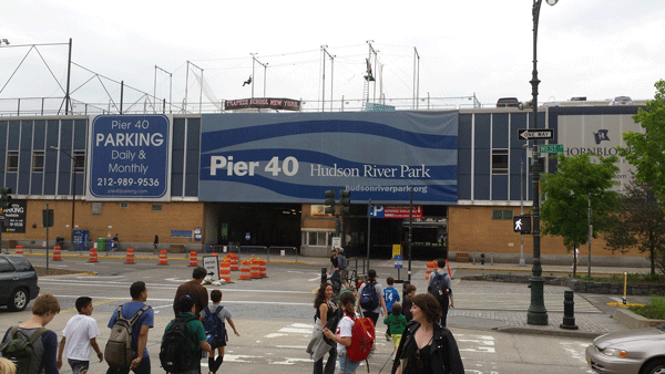 """Youths and parents are constantly streaming in and out of Pier 40 at W. Houston St., the Lower West Side's """"sports pier."""" Photo by Lincoln Anderson"""