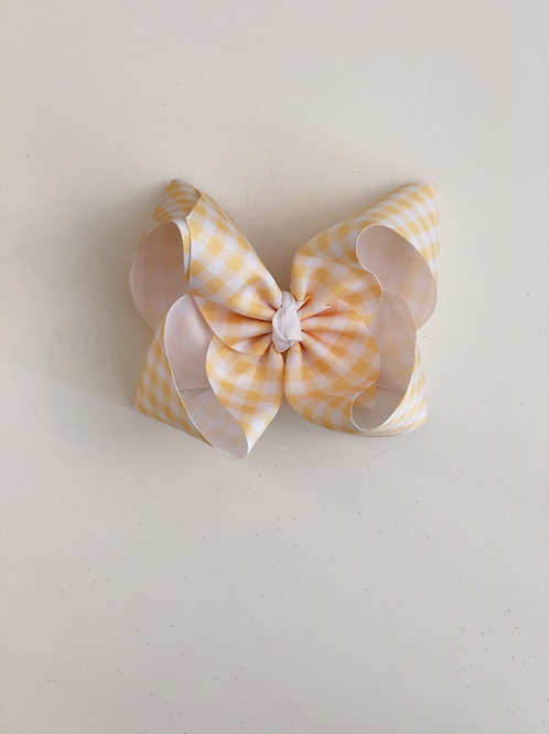 Yellow and White Gingham Bow