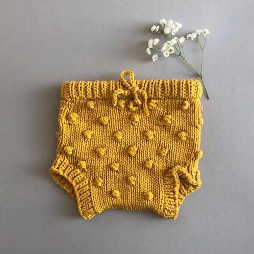 Mustard Popcorn Knit Bloomers
