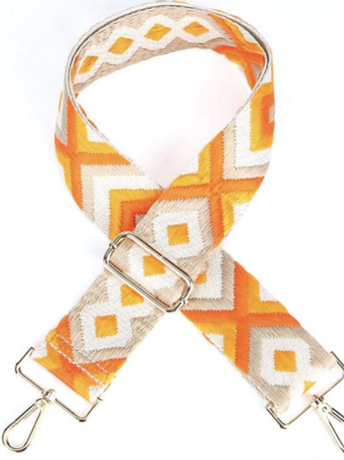 Orange Embroidered Bag Strap