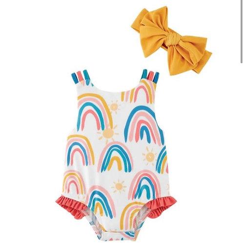 Rainbow Swimsuit with Waterproof Headband