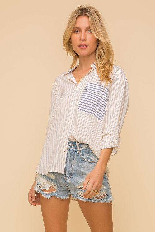 Striped Button Up Top
