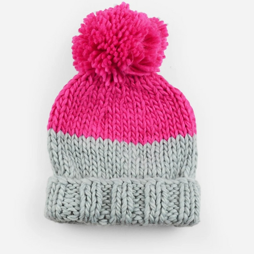 Pink and Grey Beanie