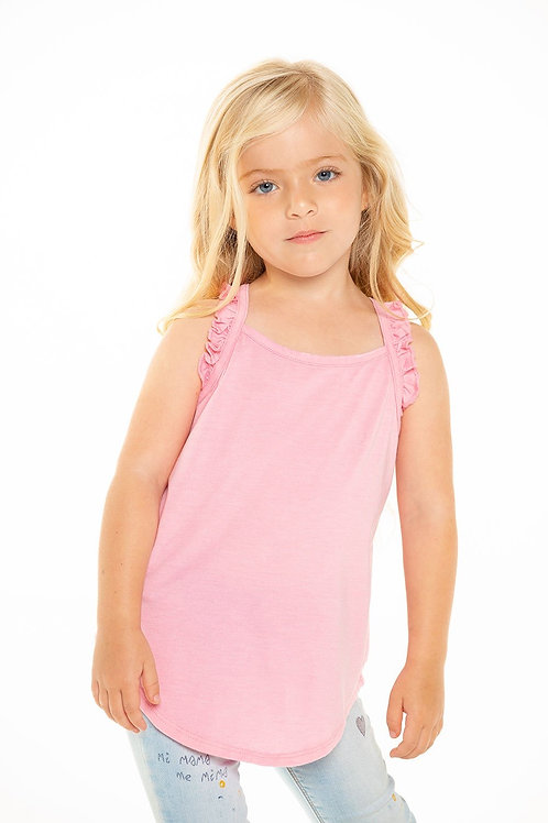 RECYCLED VINTAGE JERSEY RUFFLE RACERBACK TANK IN CARNATION PINK