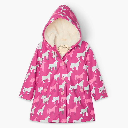 Horses Sherpa Lined Color Changing Raincoat