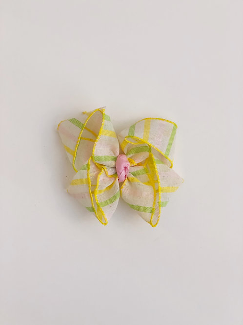 Yellow and Green Stripe Bow