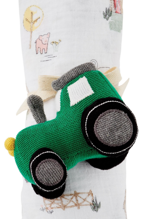 MudPie Tractor Swaddle and Rattle Set
