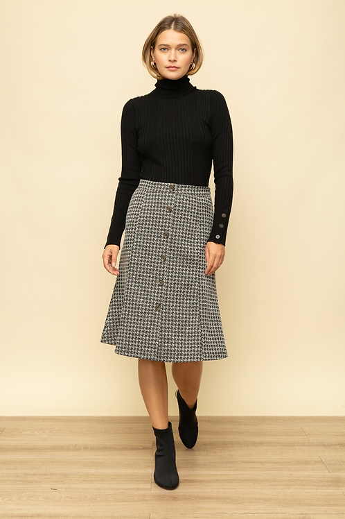 Houndstooth Button Down Skirt