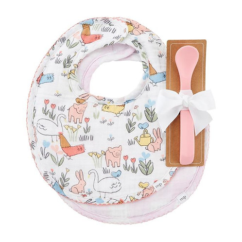 CHICKEN FLORAL BIBS AND SPOON