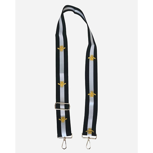Black and White Stripe Strap with Gold Bee