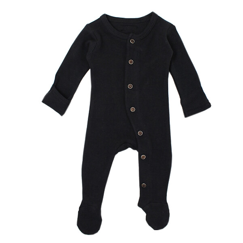 L'oved Baby Black Thermal Footie