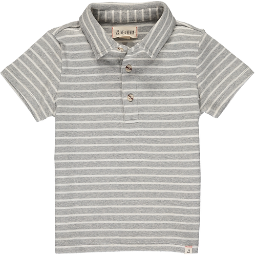 Me & Henry Flagstaff Grey and White Stripe Polo