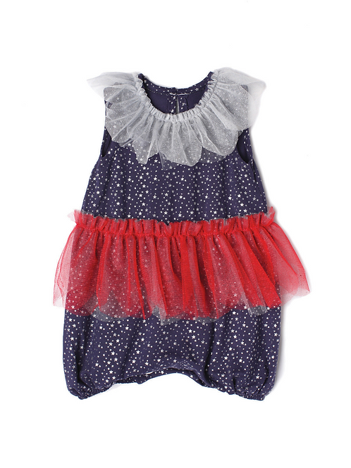 Red, White and Blue Tutu Romper with Silver Stars