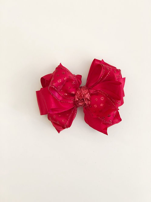 Red Sparkle Layered Bow