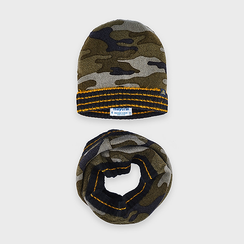 Camo Hat and Scarf Set