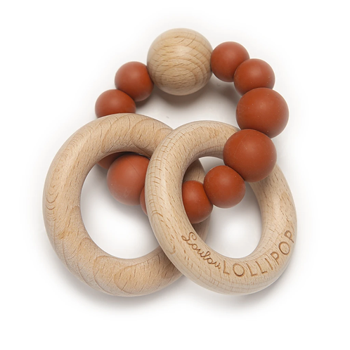 Rust Bubble Silicone and Wood Teether