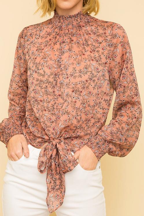 Mock neck blouse