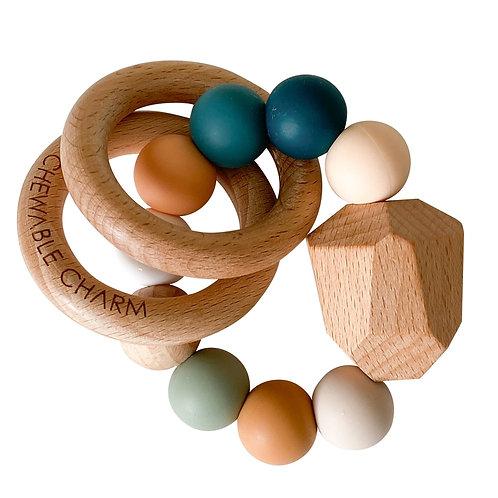 Silicone + Wood Teether -Rainbow