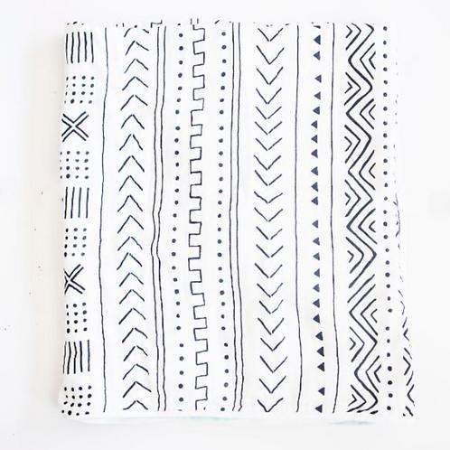 Muslin Swaddle White Mudcloth Print