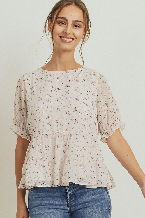 Floral Puff Sleeves Peplum Tiered Top